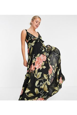 ASOS ASOS DESIGN Maternity cami wrap maxi dress with lace up back in large floral print-Black