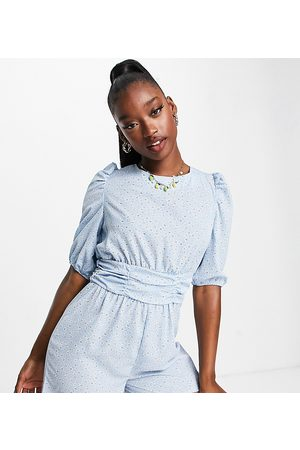 Missguided Tie back playsuit with puff sleeves in blue