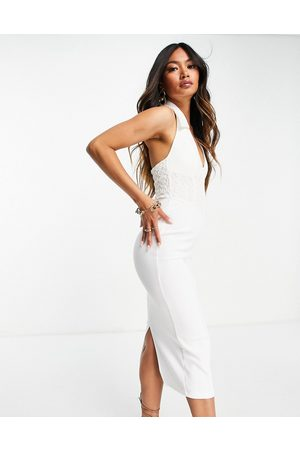ASOS Sleeveless shirt midi pencil dress with corsetted lace waist in white