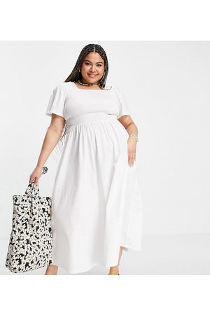 Pieces Plus Pieces Curve organic cotton shirred maxi dress in white