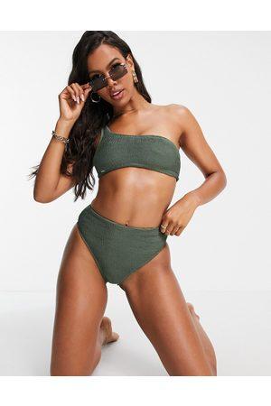 Free Society Mix and match one shoulder scrunch crop bikini top in khaki-Green