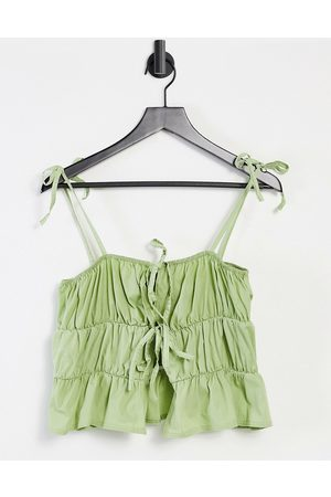 Another Reason Babydoll cami crop top with tie front-Green