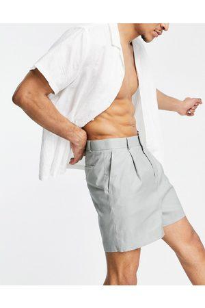 ASOS Wide smart shorts in khaki linen-Green