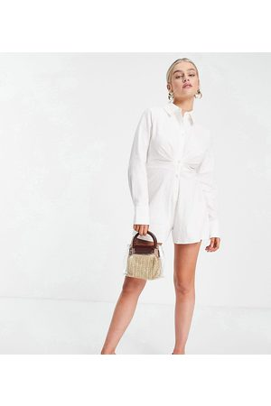 4th & Reckless Petite 4th + Reckless Petite tie front playsuit in white