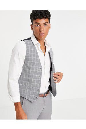 Topman Skinny suit waistcoat in grey check