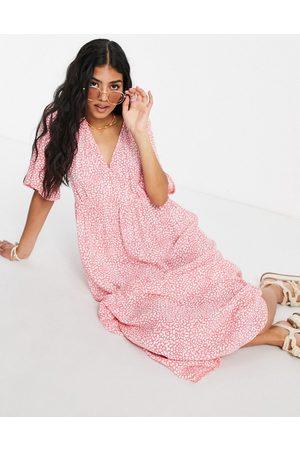 Nobody's Child V neck midi tea dress in pink ditsy floral