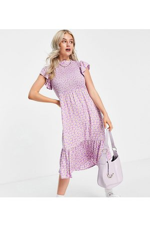 Y.A.S High neck flutter sleeve midi dress in lilac floral-Multi