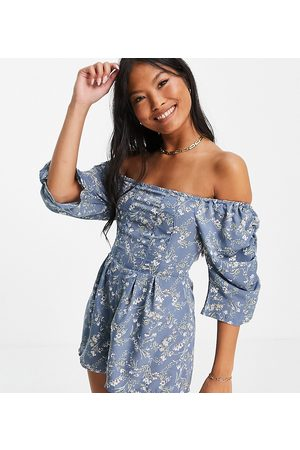 Missguided Petite Ditsy floral playsuit in blue