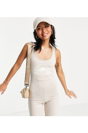 Noisy May Exclusive collegiate unitard playsuit in stone-Grey