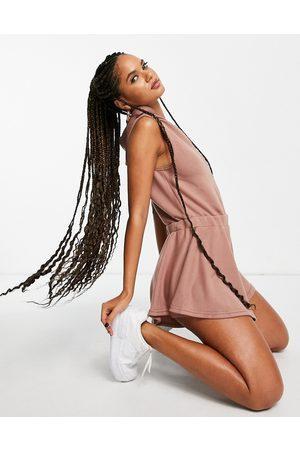 ASOS Sleeveless sweat hoodie playsuit in taupe-Brown