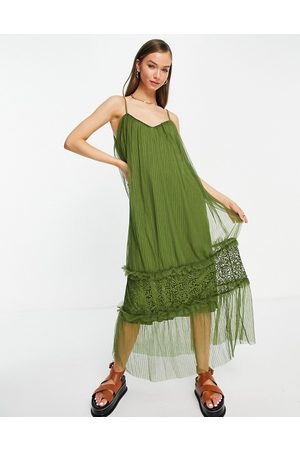 VILA Cami maxi dress with tulle tiered skirt in khaki-Green