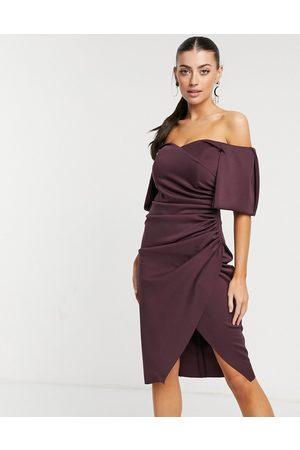 ASOS Sweetheart neck wrap tuck off shoulder bardot midi dress in plum-Purple