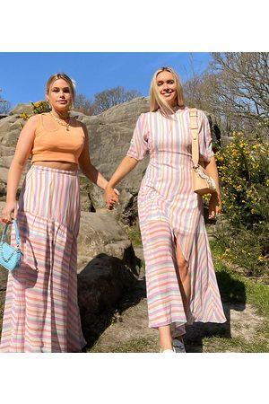 Labelrail X Olivia & Alice maxi dress with split skirt detail in bright stripe-Pink
