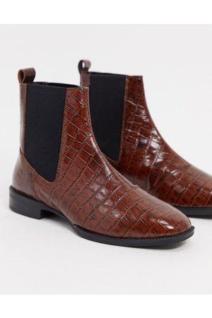 ASOS Finley woven sliders in brown
