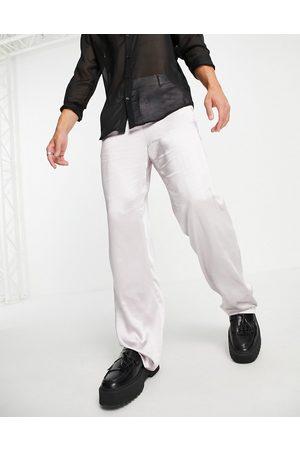 ASOS Slim satin wrap detailing suit jacket in silver