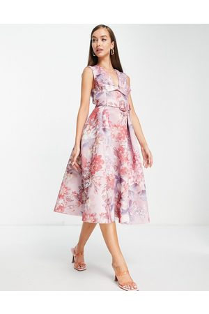ASOS DESIGN Twist square neck belted prom skater midi dress in floral print-Multi