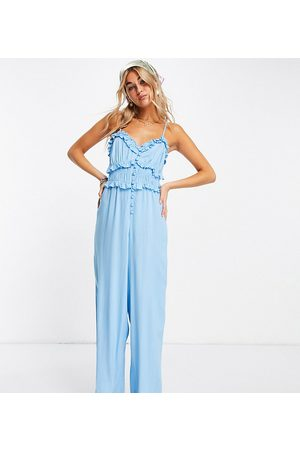 Reclaimed Vintage Inspired cami jumpsuit with button front in blue-Multi