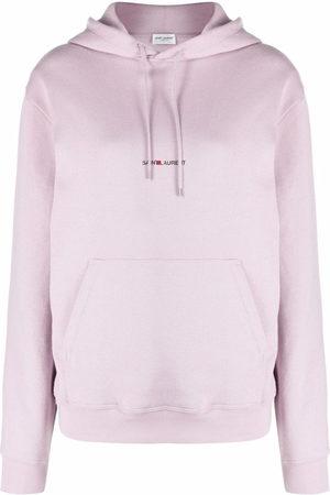 Saint Laurent Damen Sweatshirts - Logo-print drawstring hoodie
