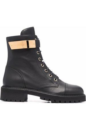 Giuseppe Zanotti Damen Cowboy & Bikerboots - Leather lace-up biker boots
