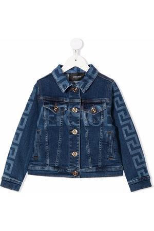 VERSACE Mädchen Jeansjacken - Greco-print buttoned denim jacket