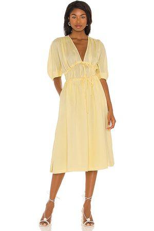 Song of Style Sonnet Midi Dress in - Lemon. Size M (also in XXS, XS, S, L).