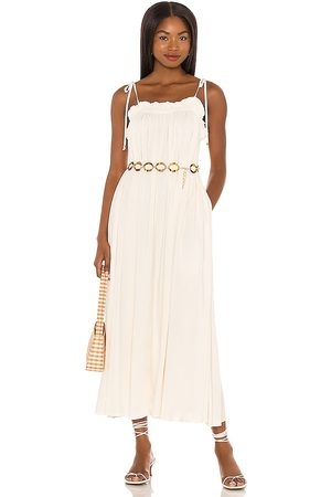 MAJORELLE Leif Maxi Dress in - White. Size L (also in XXS, XS, S, M, XL).