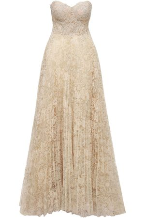 YOLANCRIS Lace Embroidered Pleated Long Dress