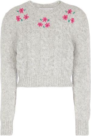 Alessandra Rich Cropped-Pullover mit Zopfstrickmuster