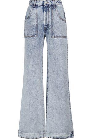 Alessandra Rich High-Rise Jeans mit weitem Bein