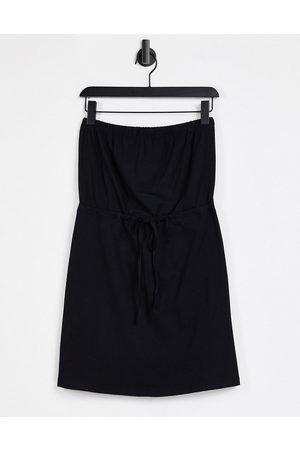 ASOS Mini bandeau sundress with drawstring waist in black