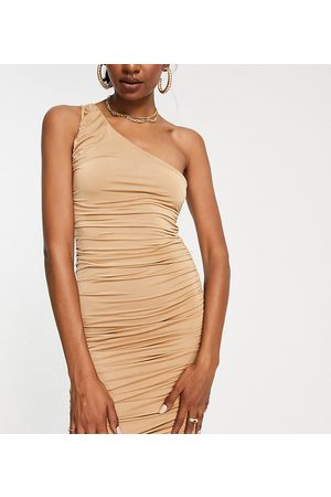 Missguided Tall Slinky one shoulder dress in sand-Neutral