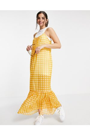 ASOS Strappy maxi 2 in 1 sundress with pep hem in yellow gingham print