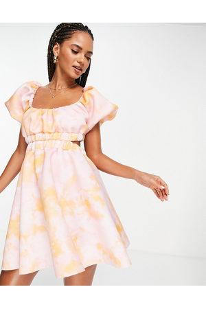 ASOS DESIGN Bubble smock open back mini skater dress in tie dye print-Multi