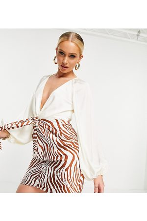 EI8TH HOUR Exclusive plunge front mini dress with in buttercream zebra print-Multi
