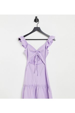 ASOS Petite cut out sundress with ruffle shoulder in lilac-Purple