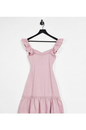ASOS DESIGN Tall cut out sundress with ruffle shoulder in rose-Pink