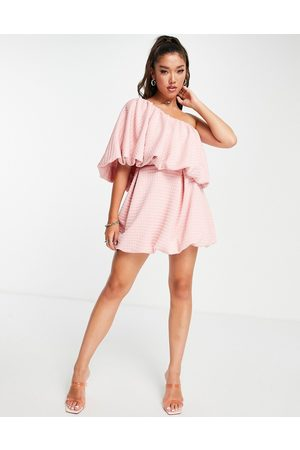 ASOS One shoulder bubble skater mini dress in pink texture