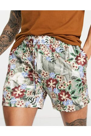 ASOS Co-ord slim shorter shorts with elasticated waist in satin floral print-Multi