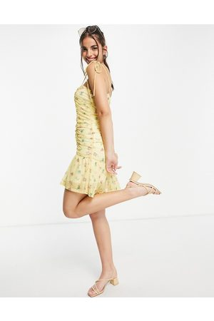 ASOS DESIGN Ruched front strappy mini mesh dress in yellow floral-Multi