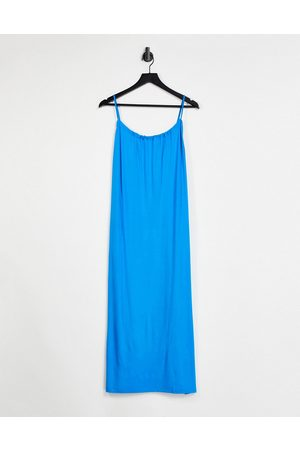 ASOS DESIGN Gathered neck strappy midi sundress with pockets in bright blue