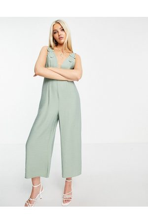 ASOS Textured buckle front jumpsuit in mint green