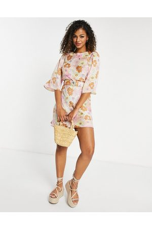 ASOS Belted satin mini dress with angel sleeve in pastel floral print-Multi