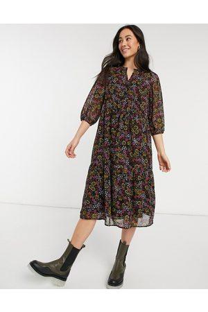 Vero Moda V-neck midi smock dress in ditsy floral-Multi