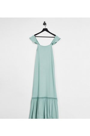 ASOS Maternity frill sleeve maxi sundress with lace inserts in sage green