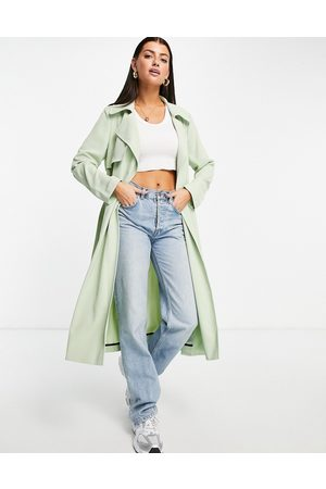 River Island Belted trench coat in sage green