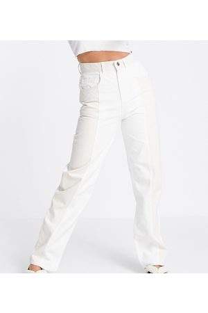 Reclaimed Vintage Inspired 90's Dad jeans in ecru and sand colourblock-White