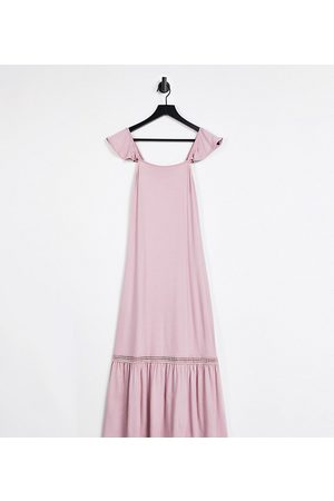 ASOS DESIGN Petite frill sleeve maxi sundress with lace inserts in rose-Pink