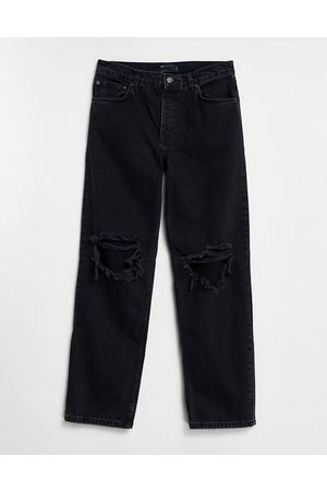 ASOS DESIGN Low rise straight leg jeans in washed black with knee rips