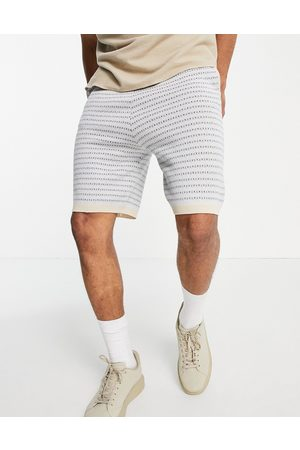 ASOS DESIGN Knitted co-ord shorts with geo pattern in light blue