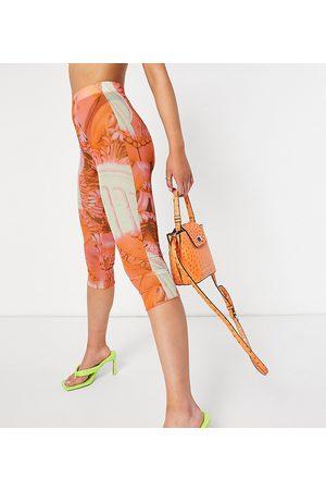 AsYou Colourful renaissance mesh co-ord capri leggings in multi